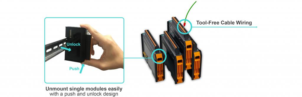 Pažangus modulinis įrenginys  IoThinx4500 - lengvas montavimas ant DIN bėgelio